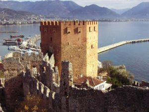 Alanya Castle overlooks Alanya, a lovely Turkish Mediterrenean town