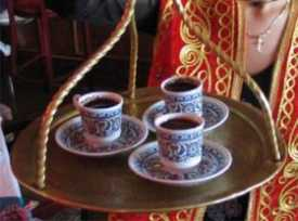 Turkish coffee is served traditionally in such small cups