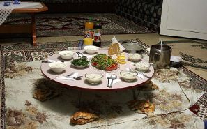 Turkish food is traditionally eaten sitting on a clean floor