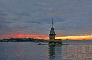 Leander's Tower in Istanbul, with the historic peninsula in the background