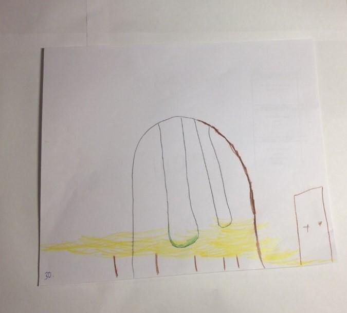 Hankkeen työpajassa tuotettu lapsen piirros kahdenistuttavasta keinusta, jossa lapsi ja aikuinen voivat keinua yhdessä. Kuva: Kaisa Voutilainen.