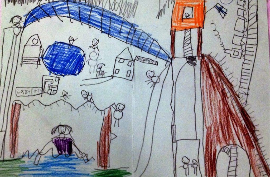 Sekä lapset että aikuiset toivovat leikkipuistoympäristöltä yhdessäolon mahdollisuuksia ja mielekästä tekemistä kaikille. Hankkeen työpajassa tuotettu lapsen piirros kaikille sopivasta, liikuntaa tukevasta leikkipuistosta. Kuva: Kaisa Voutilainen.