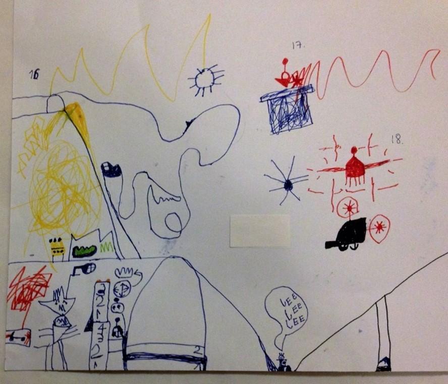 """""""Kummitustunneli, jonka sisällä ajetaan ja mutkitellaan kovaa pyörätuolilla tai juosten. Mennään superjyrkkää mäkeä alas!"""" Hankkeen työpajassa tuotettu lapsen piirros. Kuva: Kaisa Voutilainen."""