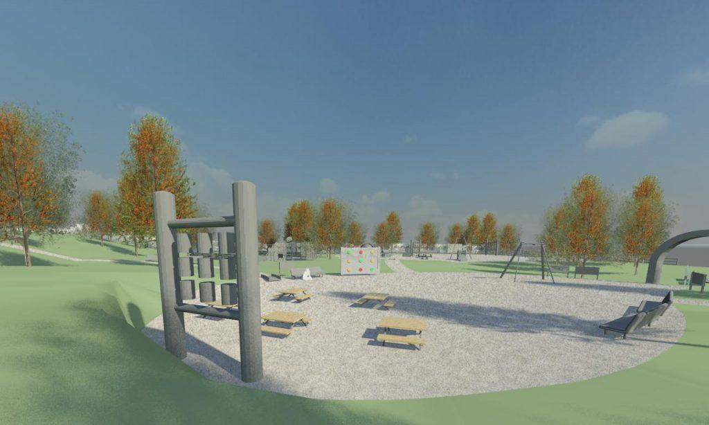 Kuvituskuva kaikille sopivan, liikunnallisuutta tukevan leikkipuiston 3D-mallinnuksesta.
