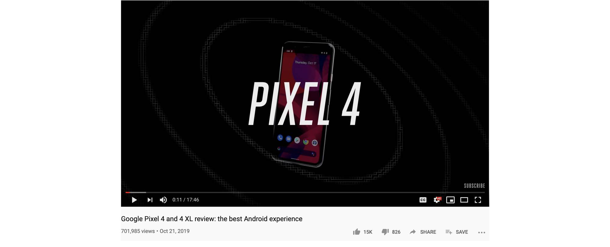 "A screenshot of a YouTube video for a Pixel 4 and Pixel 4 XL video review entitled ""Google Pixel 4 and 4XL review: the best Android experience."" The approval counter shows 14K thumbs-up votes and 782 thumbs-down votes."