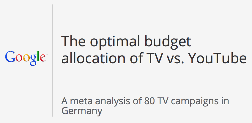 The Optimal Budget Allocation of TV vs. YouTube