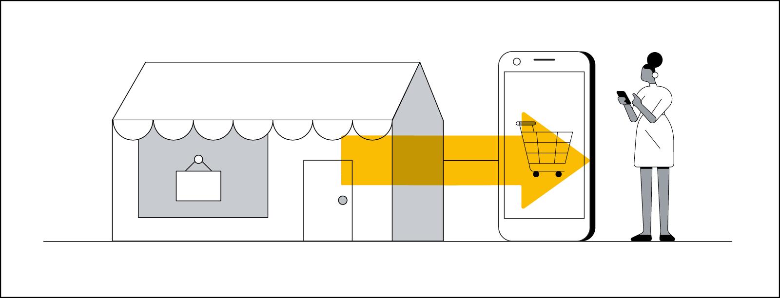 Схематичный рисунок, иллюстрирующий переход от обычных покупок к цифровым. Темнокожая женщина использует мобильный телефон. Слева от нее зеленая стрелка указывает направление от обычного магазина к большой корзине покупок на сайте.