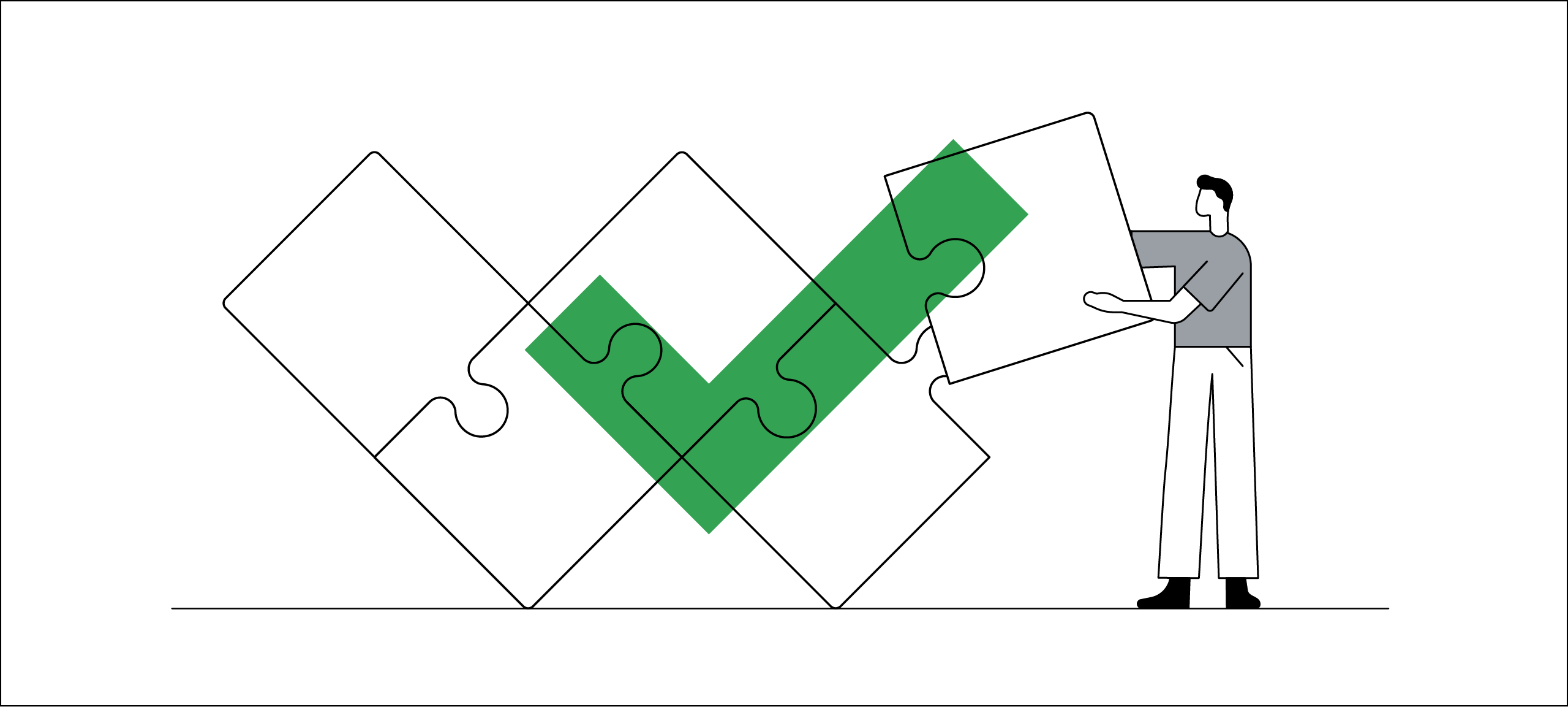 A line drawing illustrates problem solving. A man with black hair adds the final piece to a life-sized jigsaw puzzle. A green checkmark hovers over the W-shaped puzzle to indicate its completion.
