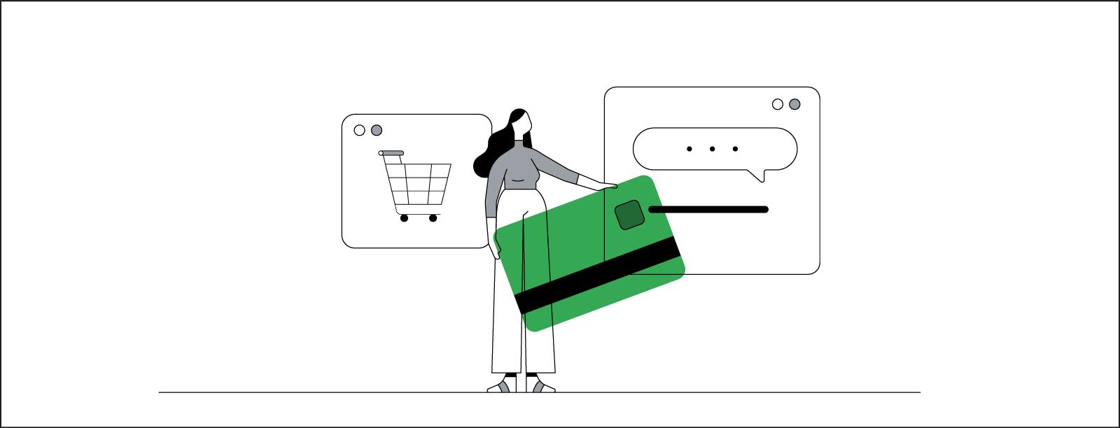 Ilustración de una mujer de pelo largo y negro entre dos ventanas de un navegador: una con un carrito de la compra y otra con un chat online abierto. La mujer sujeta una tarjeta de crédito gigante.