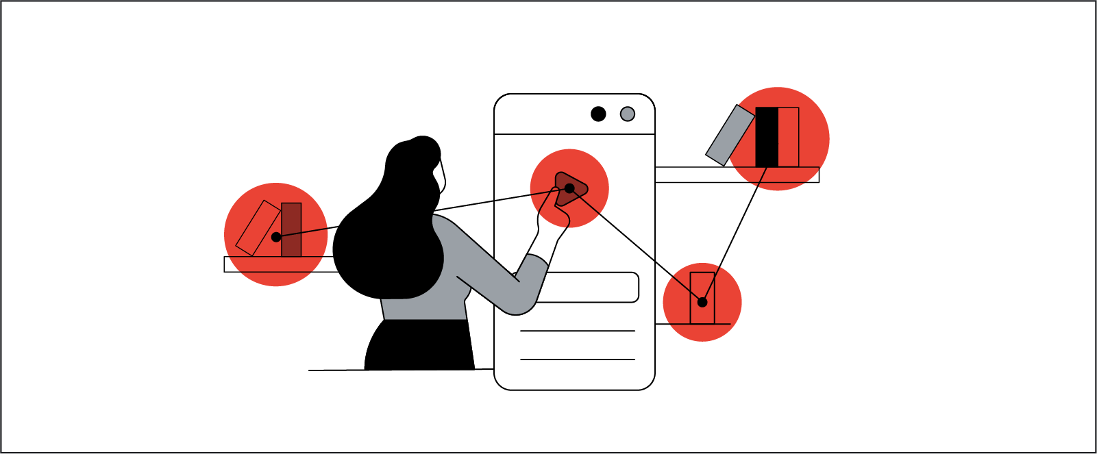 Stylized illustration of a woman interacting with apps on an oversized mobile phone.
