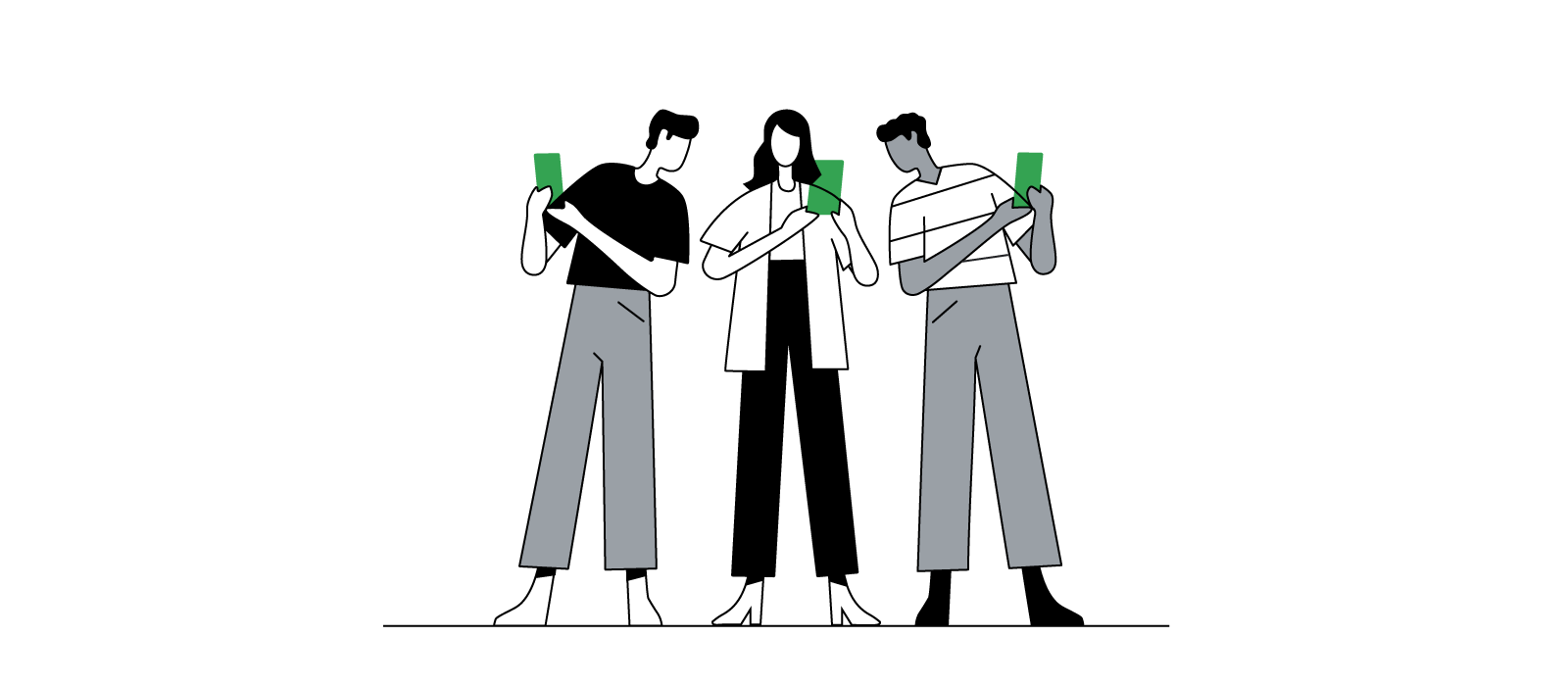 An illustration of a group of people comparing smartphone screens.