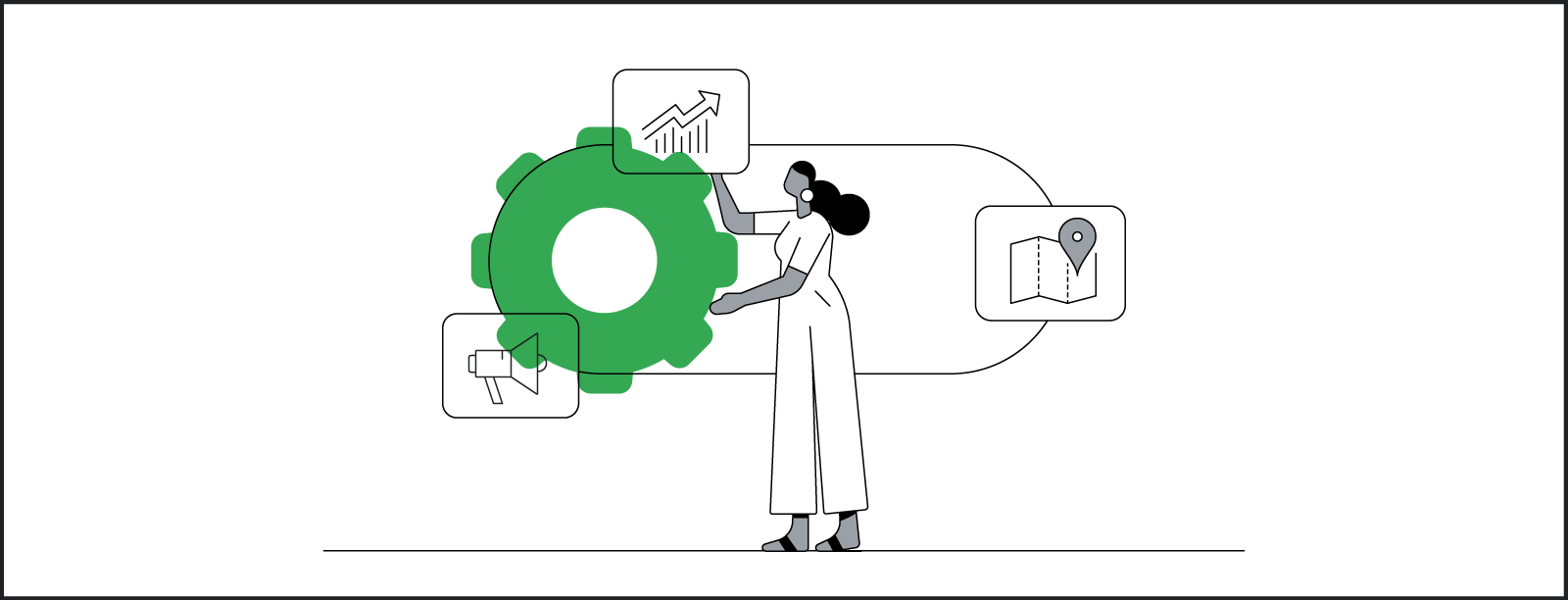 In a stylized illustration, a Black woman interacts with a stylized array of demand settings, like amplification, location, growth, and search.