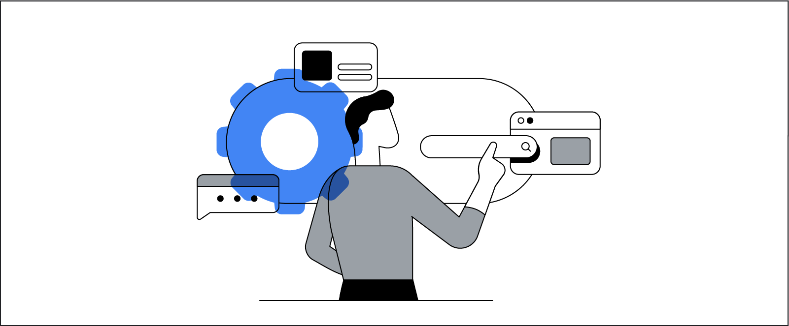A stylized illustration represents a person interacting with a variety of digital interfaces, from search and user settings to video and chat.