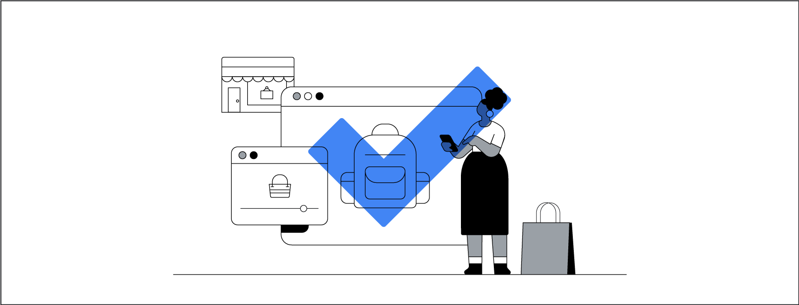 A stylized illustration of a woman using a smartphone while shopping. She stands in front of an array of larger-than-life browser windows that display digital storefronts.