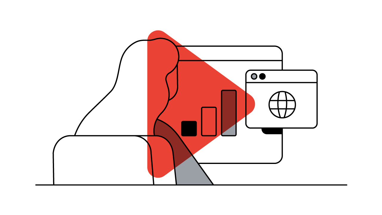 Eine Frau sieht auf einen Bildschirm, auf dem sich ein Daten-Diagramm zu sehen ist. Darüber legt sich der rote YouTube-Button.