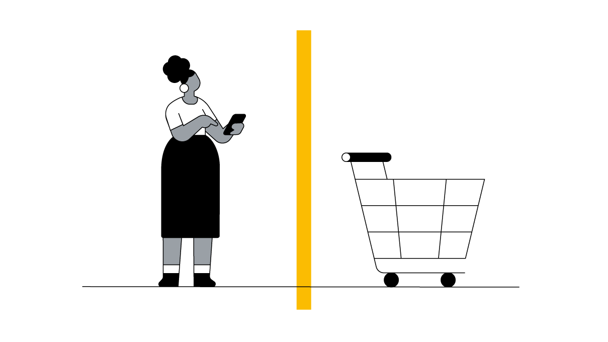 A woman browsing on her phone on the left side and a shopping cart on the right side, with a yellow bar in the middle indicating a barrier.