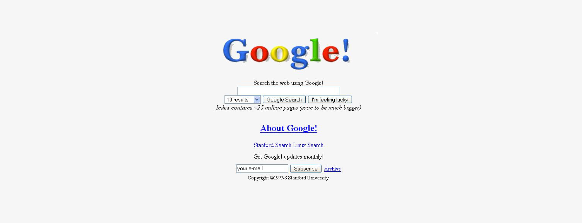 first version of the Google search