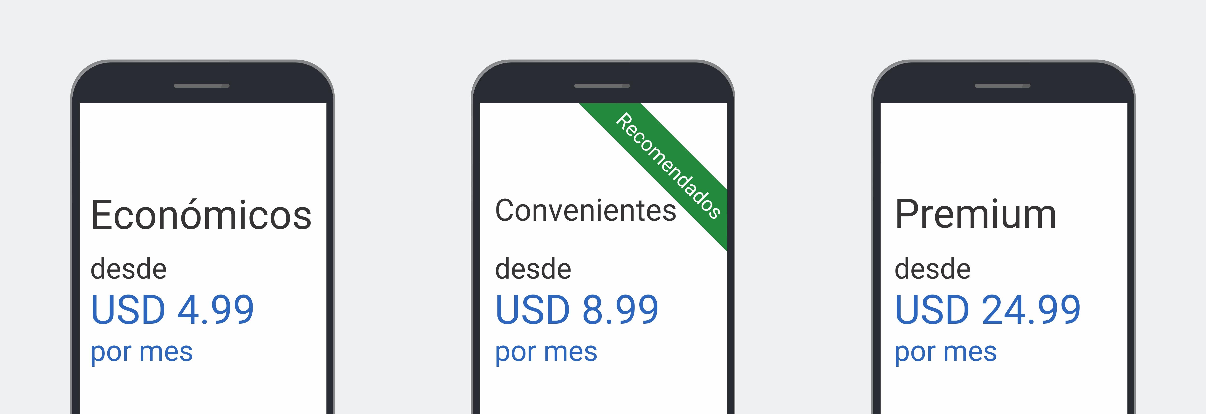 3 pantallas de teléfono muestran ofertas de planes de datos: económicos, desde USD 4.99 por mes; convenientes y recomendados, desde USD 8.99 por mes; Premium, desde USD 24.99 por mes