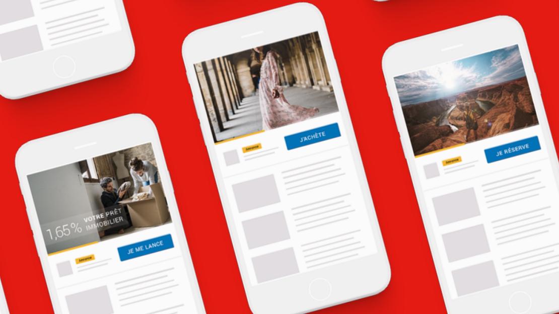 Icônes de smartphones avec des collections YouTubes pour des réponses directes de vente, d'information ou de réservation.