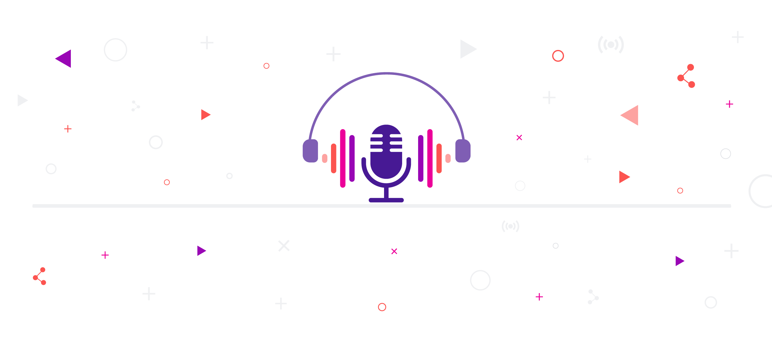 The Digital Dialogues Podcast logo: A purple microphone with purple, pink, and orange coloured frequency signals on each side and purple over-ear headphones hanging over it.