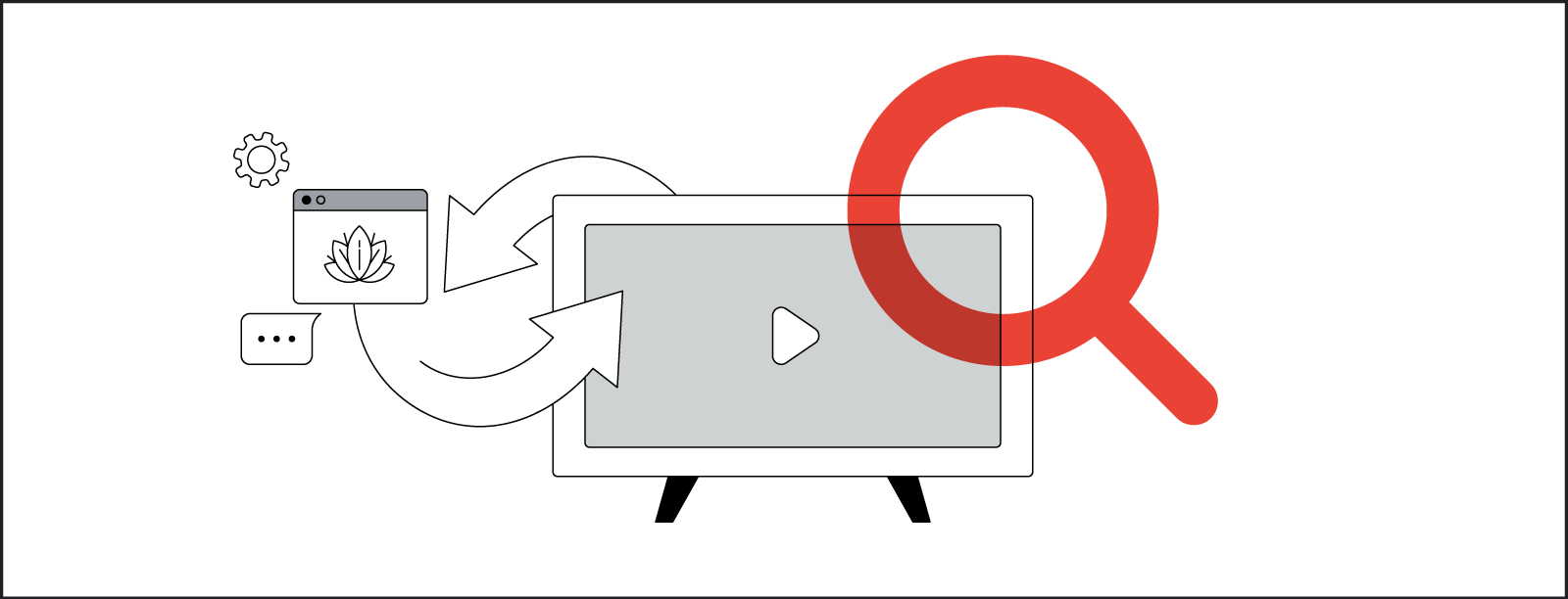 Stylized line drawing illustrating how people switch from watching video content among a variety of screen types.