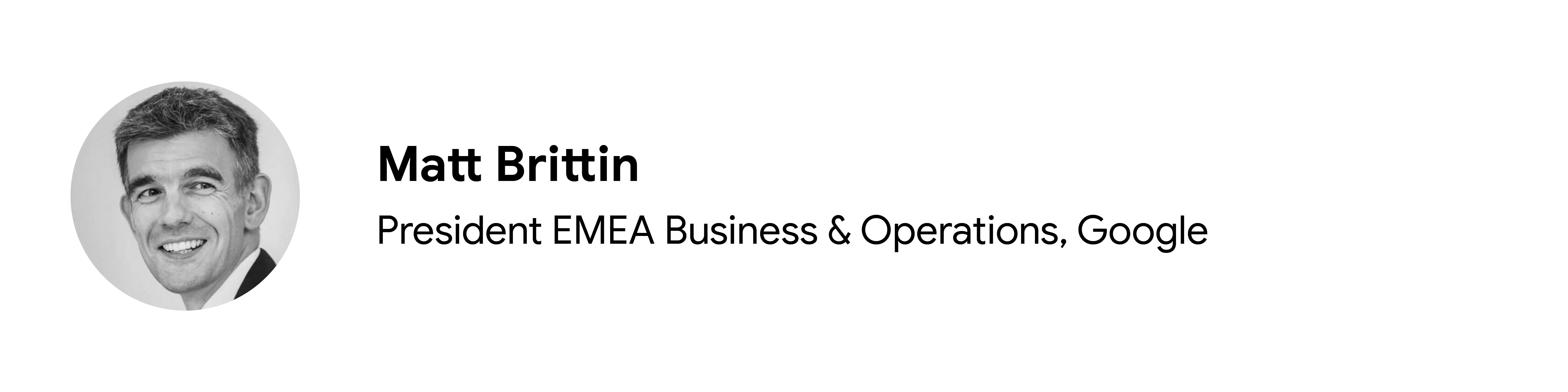 Katkıda bulunan Matt Brittin'in siyah beyaz vesikalık fotoğrafı, EMEA İş ve Operasyonlar Başkanı, Google