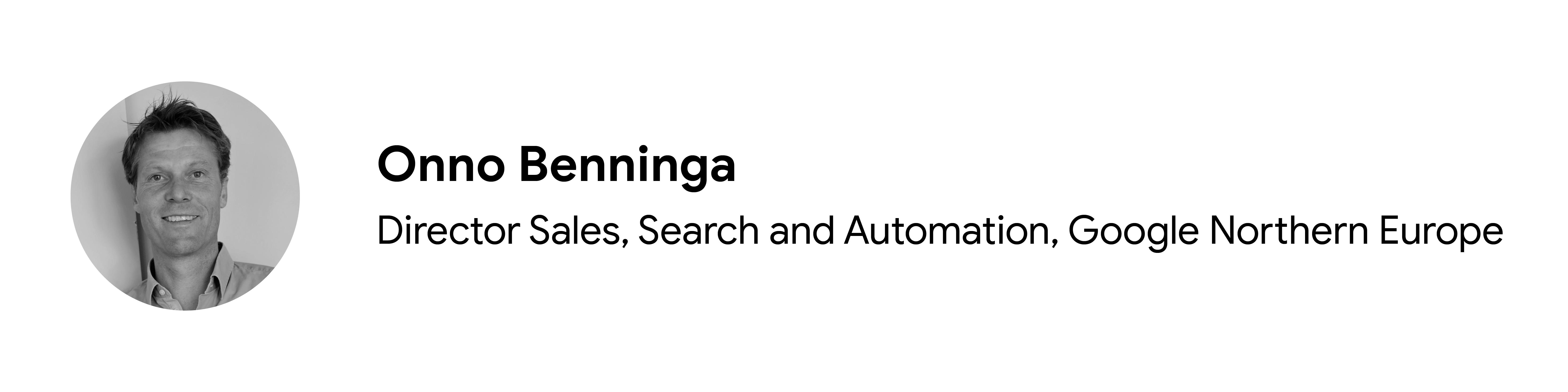 Katkıda bulunan Onno Benninga'nın siyah beyaz vesikalık fotoğrafı, Satış, Arama ve Otomasyon Direktörü, Google Kuzey Avrupa