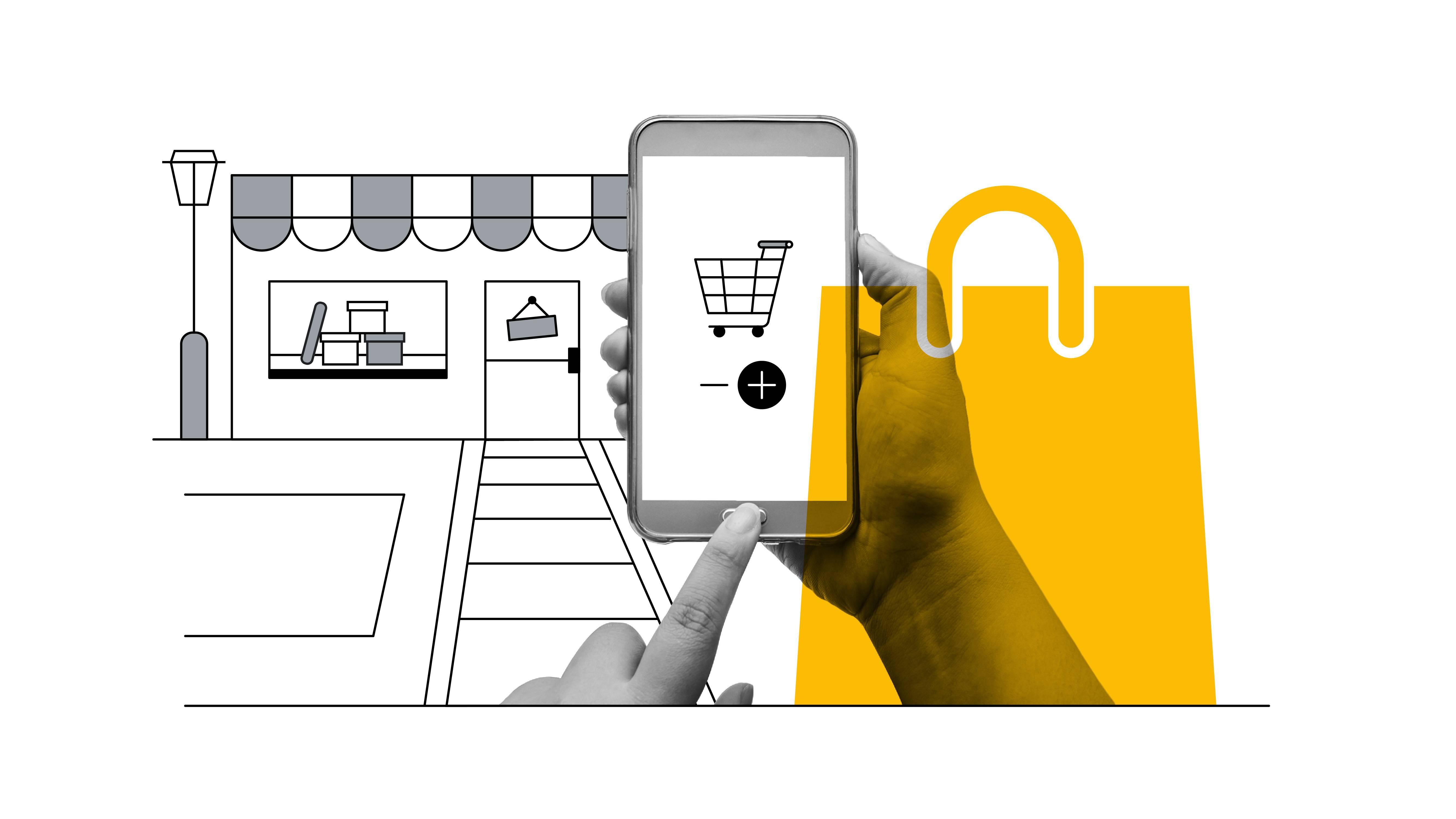 Une photo en noir et blanc montre une personne qui regarde son smartphone et envisage d'effectuer un achat, avec un grand panier d'achat affiché à l'écran. À l'arrière-plan, une illustration en noir et blanc représente une vitrine contenant des boîtes. Un