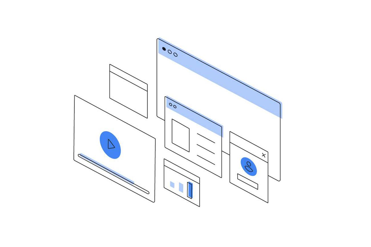 Mehrere geöffnete Tabs, mit angedeuteten Graphen, einem Play-Button, einem Social-Media-Profil und einer Produktbewertung.