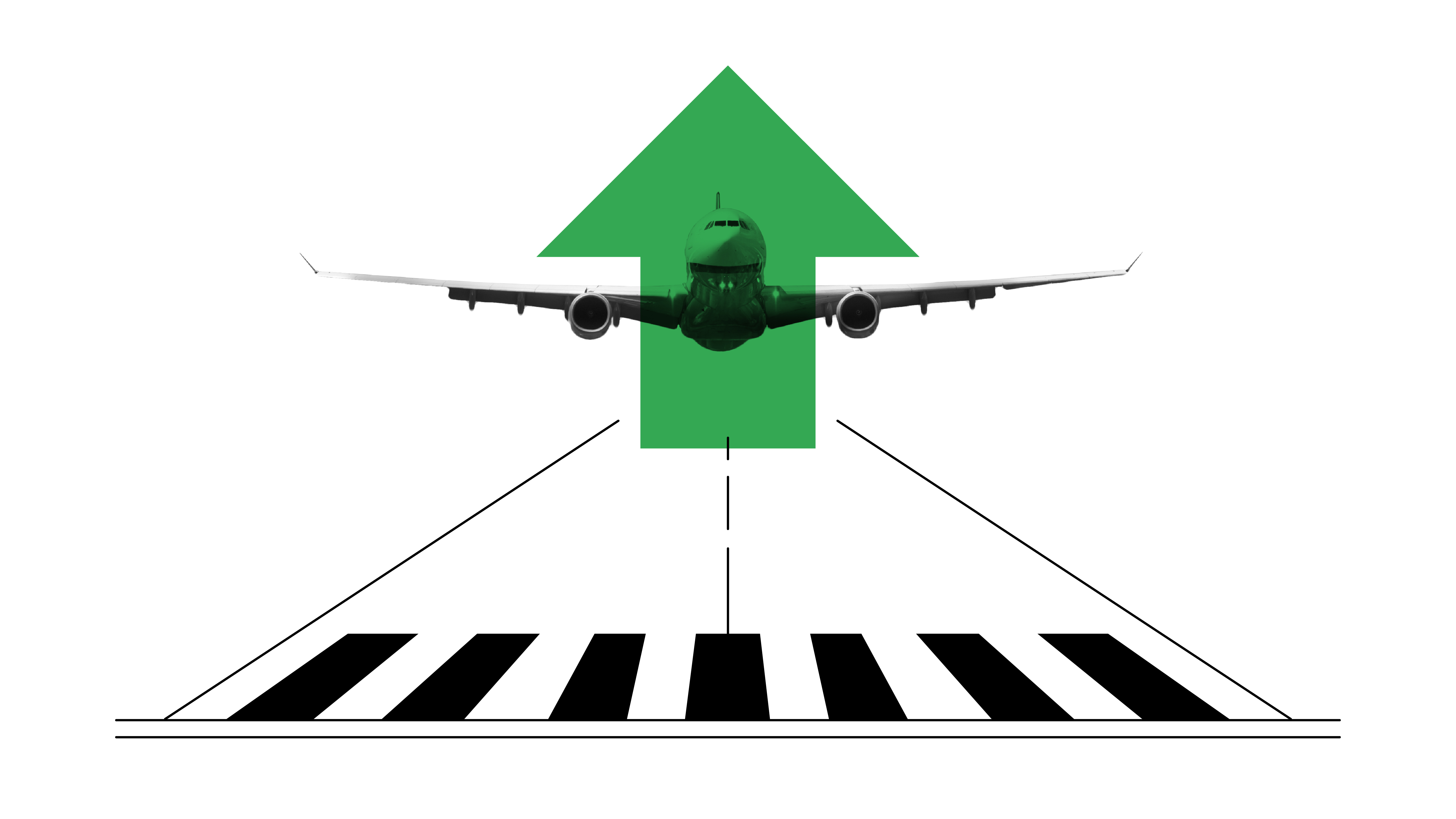 A black-and-white illustration of an airplane taking off on the runway with a striking green illustrated arrow overlayed on the airplane