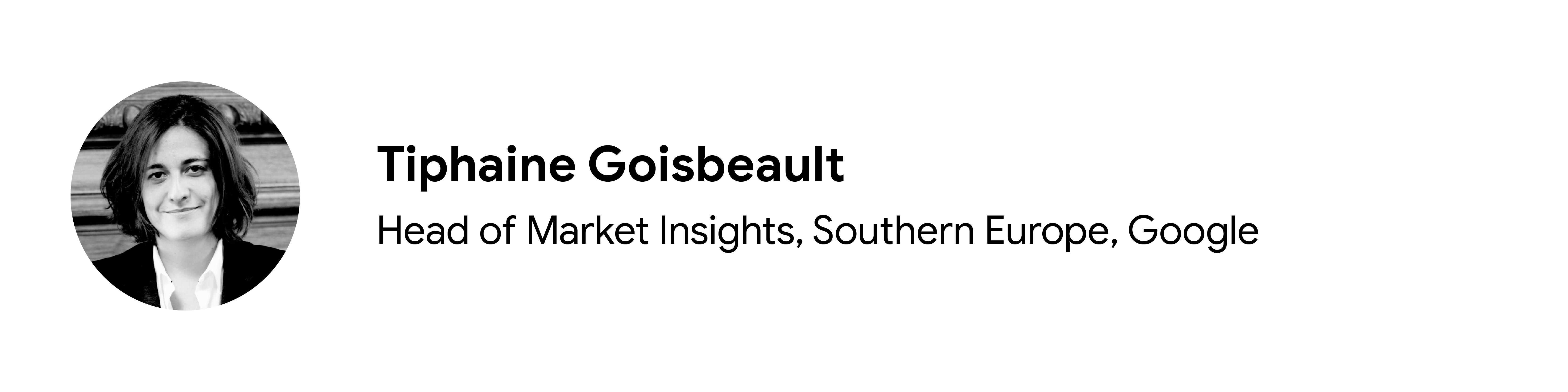 Katkıda bulunan Tiphaine Goisbeault'un siyah beyaz vesikalık fotoğrafı, Pazar Bilgileri Başkanı, Güney Avrupa, Google