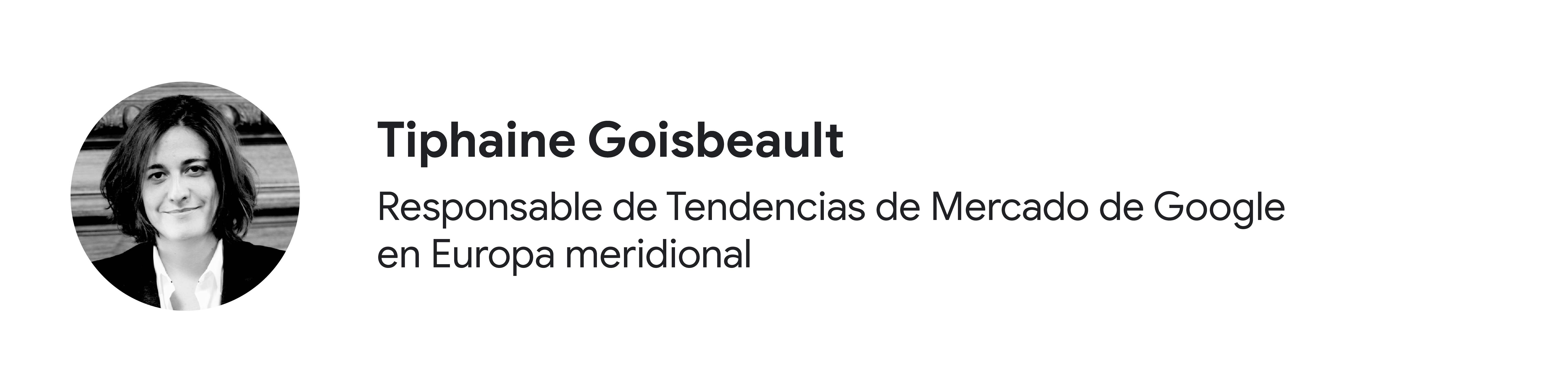 Foto en blanco y negro de la colaboradora Tiphaine Goisbeault, responsable de Tendencias de Mercado de Google en Europa meridional