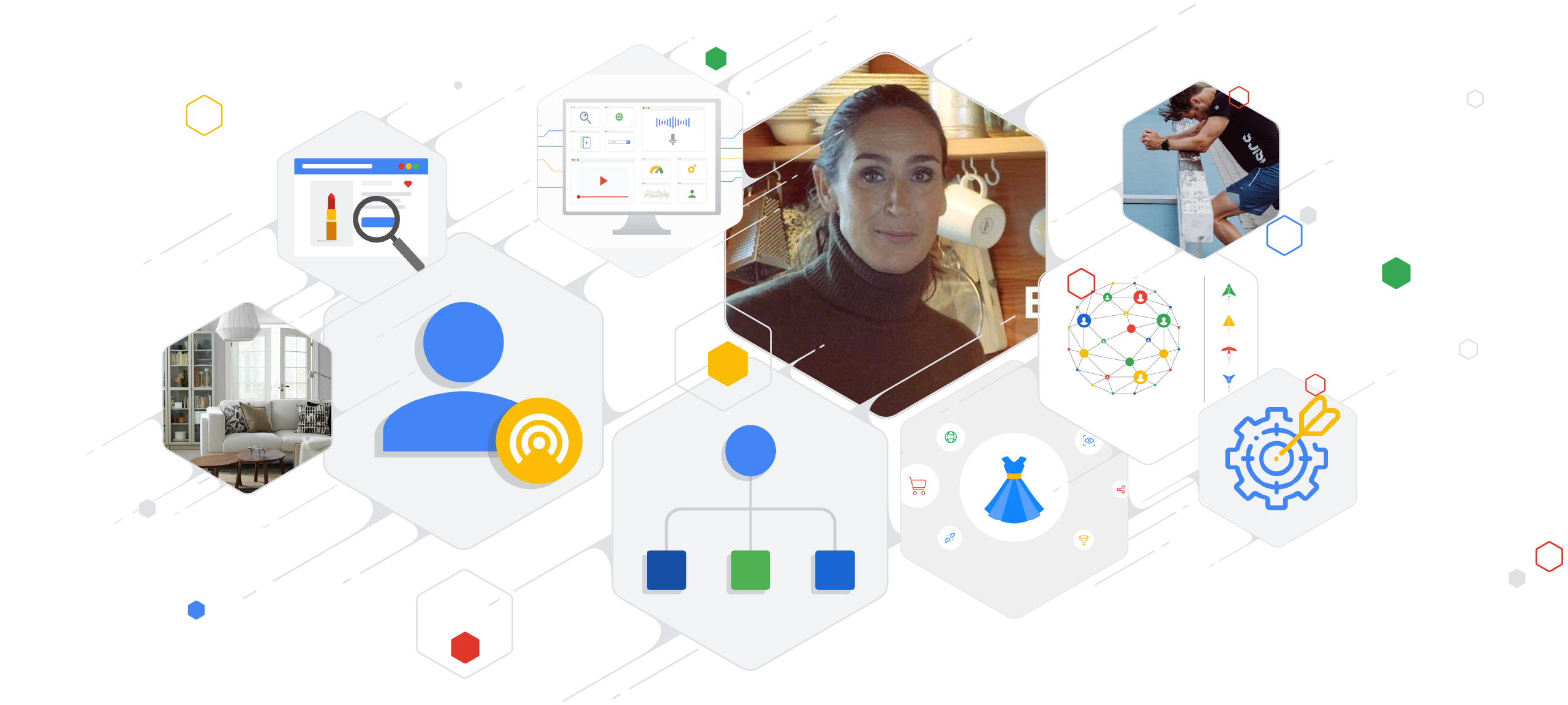 Article banner for the Flashback Series: a collection of 10 hexagons showing the original thumbnails of 10 of the most popular articles of Think with Google Nordics & Benelux in 2019.