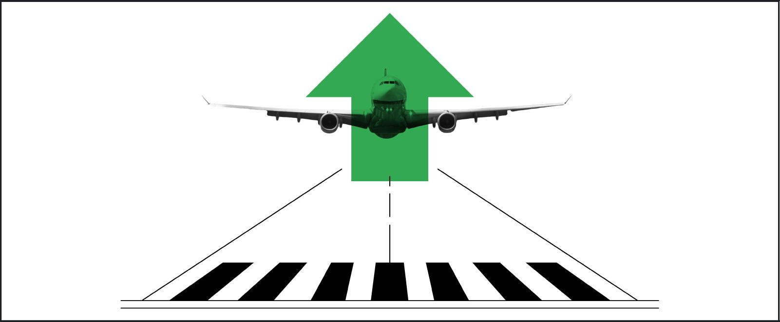 Ilustración en blanco y negro de un avión despegando en la pista de aterrizaje con una llamativa flecha verde dibujada sobre el avión.