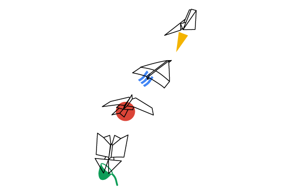 4 origami birds in Google colours fly from the bottom left corner of the image towards the right.