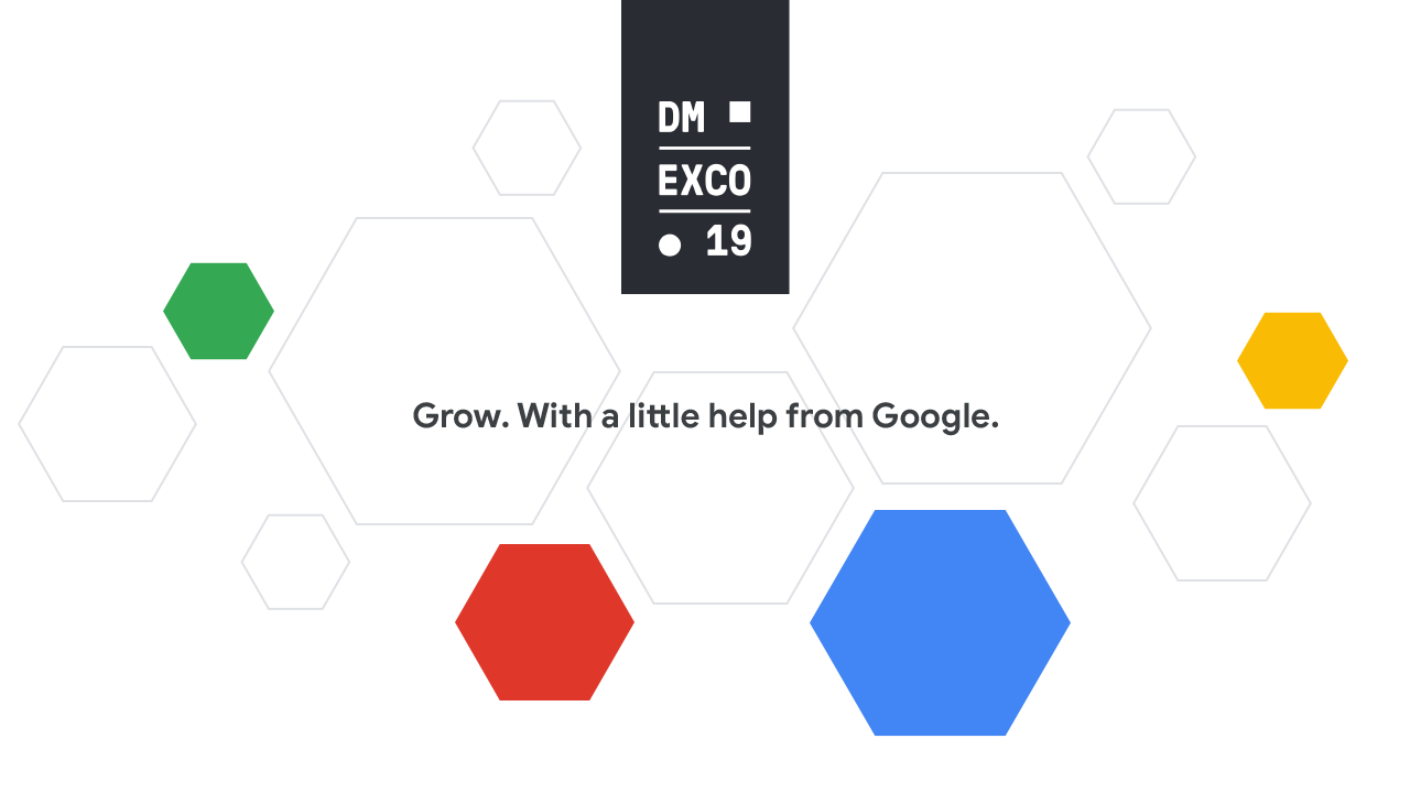 """Verschiedene grafische Elemente sowie dem Logo der """"DMEXCO 19"""" und dem Textelement """"Grow with a little help from Google"""""""