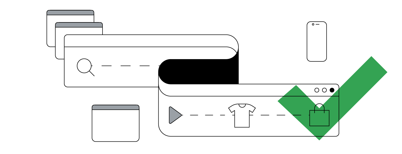 An abstract illustration of a flexing, curving browser window that shows the nonlinear consumer journey from research to purchase across devices.