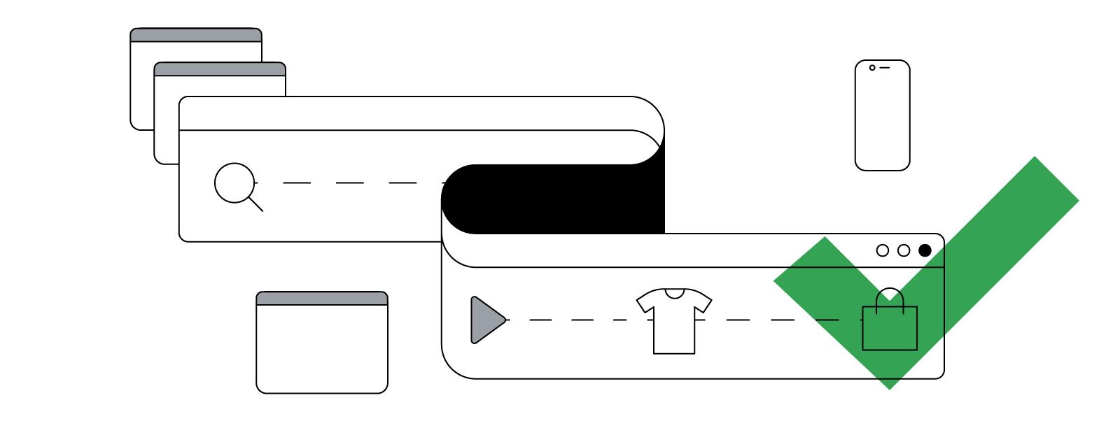 Абстрактное изображение длинного изгибающегося окна браузера, которое символизирует непрямой путь к покупке на разных устройствах, от исследования до приобретения товара.