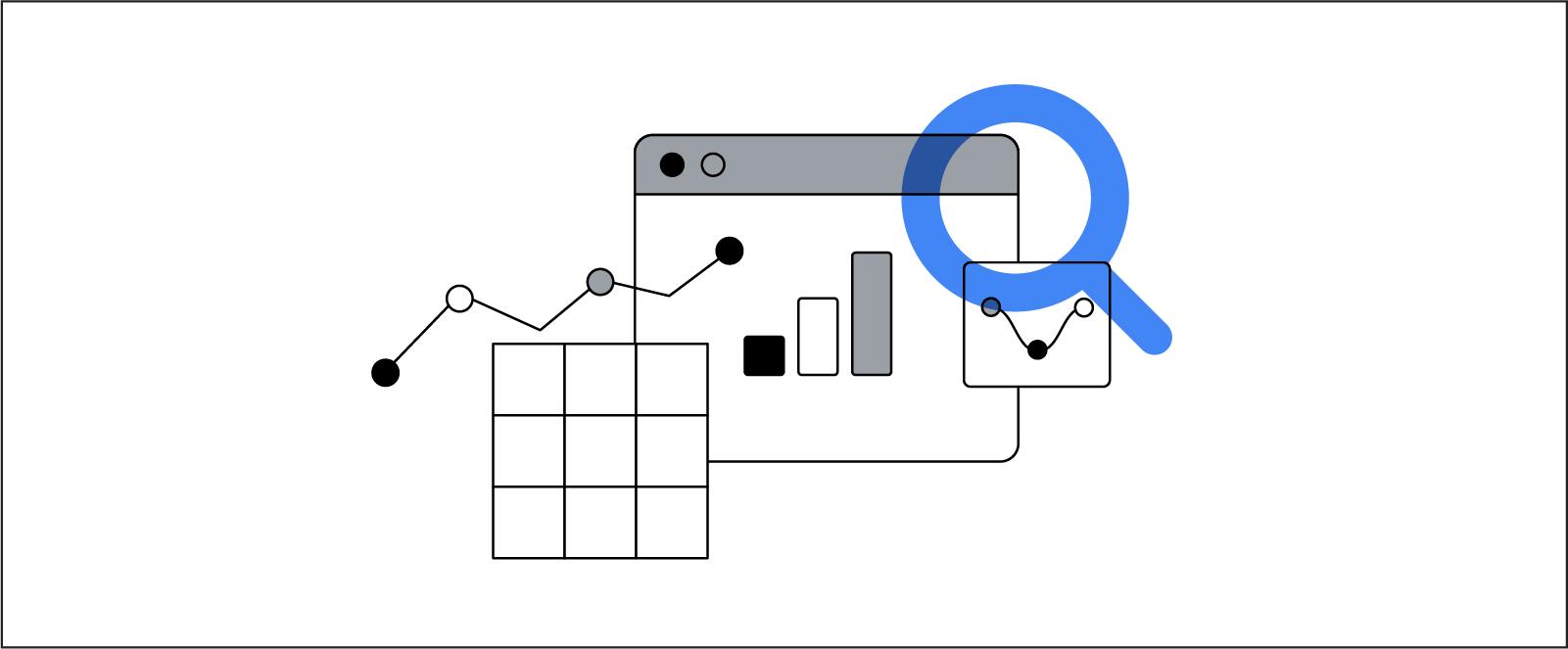 Un insieme stilizzato di disegni di simboli relativi a grafici e tabelle sui dati con una lente d'ingrandimento sovrapposta.