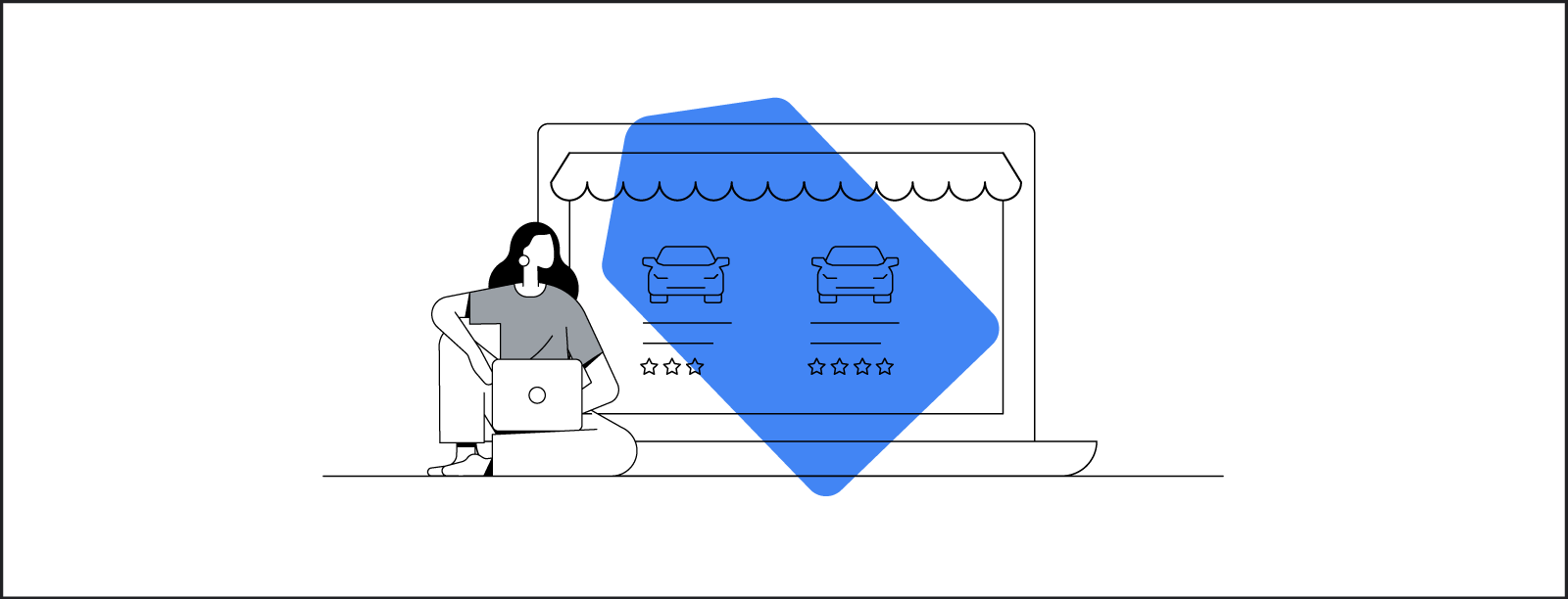 A stylized illustration of a woman shopping on a laptop while sitting cross-legged in front of a larger-than-life laptop with a screen that appears to be a brick-and-mortar storefront.