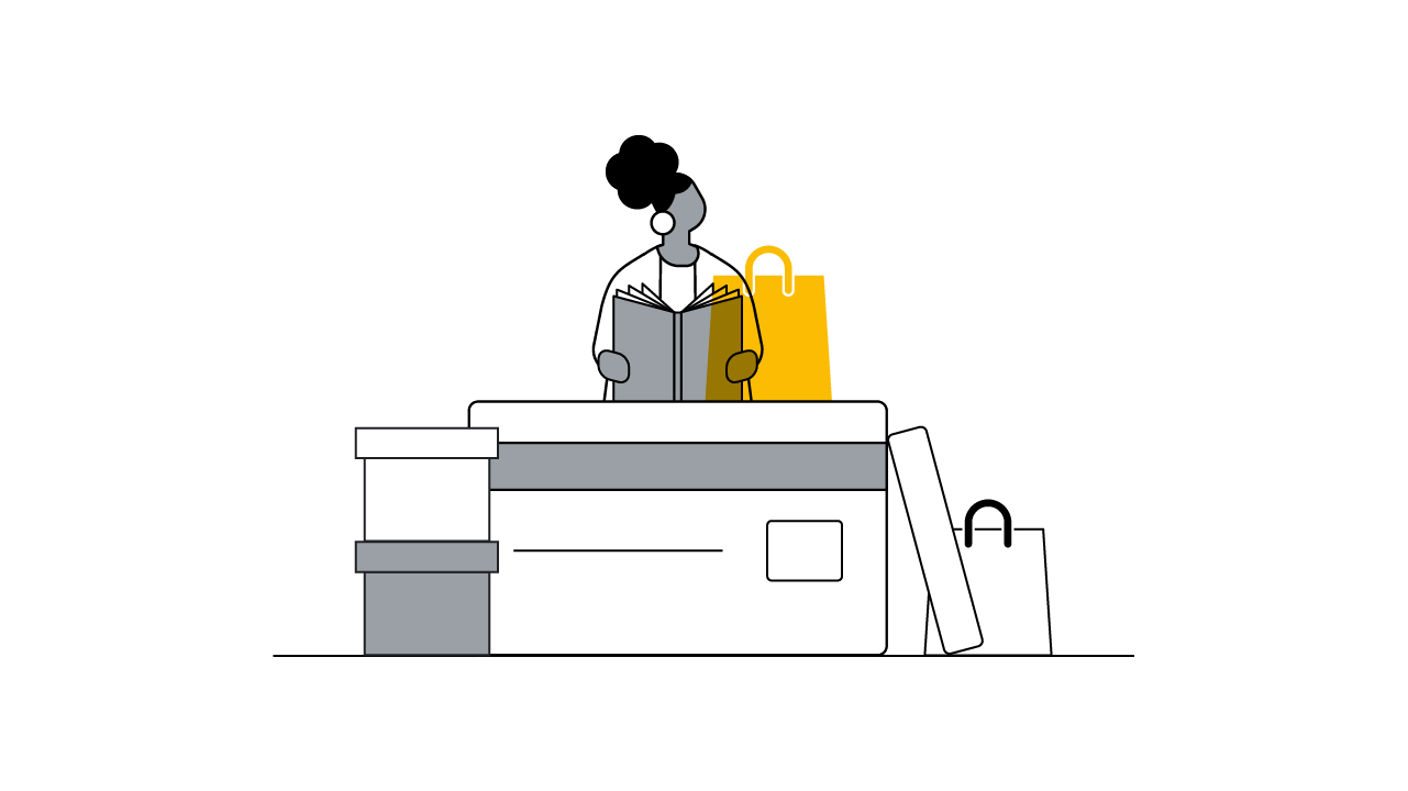A black-and-white illustration shows a woman reading a playbook guide. Next to her is a stylised yellow icon of a shopping bag, indicating she's reading about retail topics. She's surrounded by retail boxes and bags.