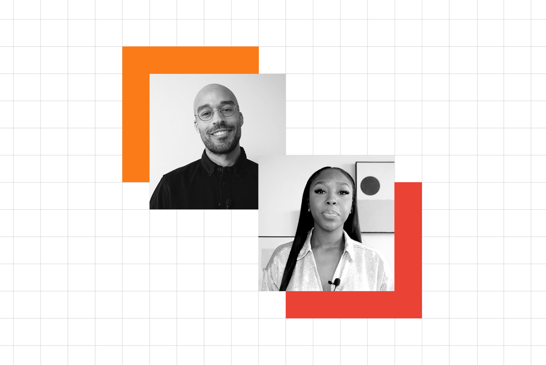 Overlapping portraits of Raphael Diallo, founder of Google's Inclusive Marketing Consultants, and Alisha Jennings-Olowosuko, lead at Google's Inclusive Marketing Consultants.