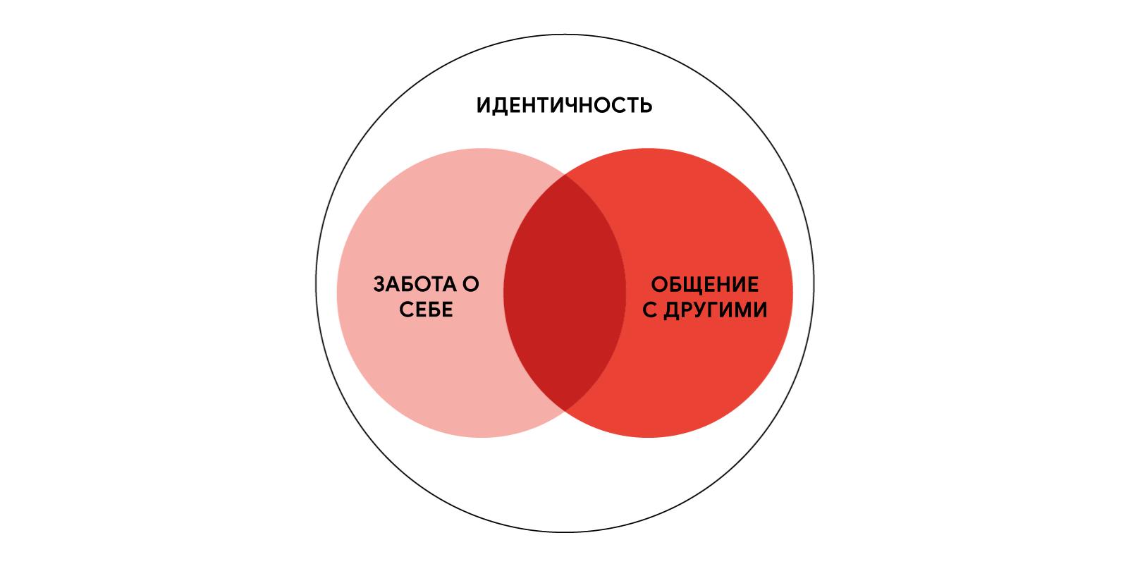 """Диаграмма Венна с двумя кругами (""""Забота о себе"""" и """"Общение с другими"""") в одном большом круге (""""Идентичность"""")."""
