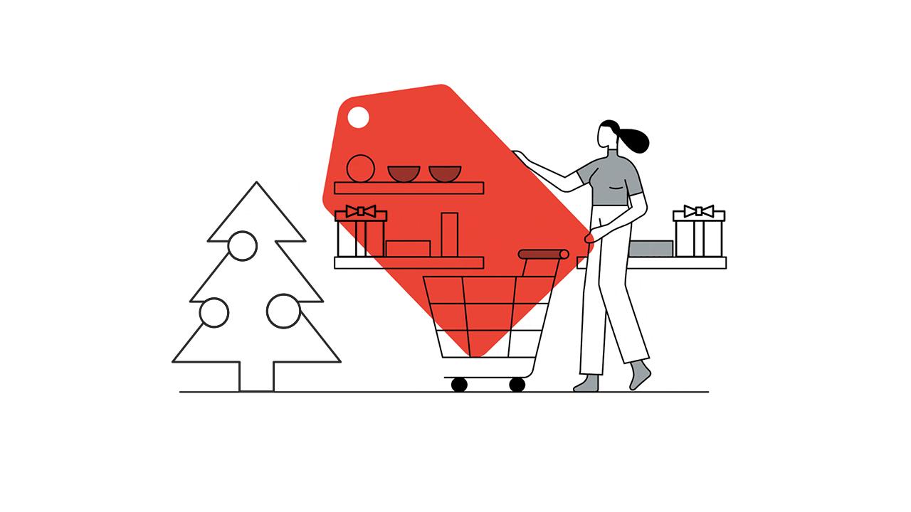 woman shopping on xmas