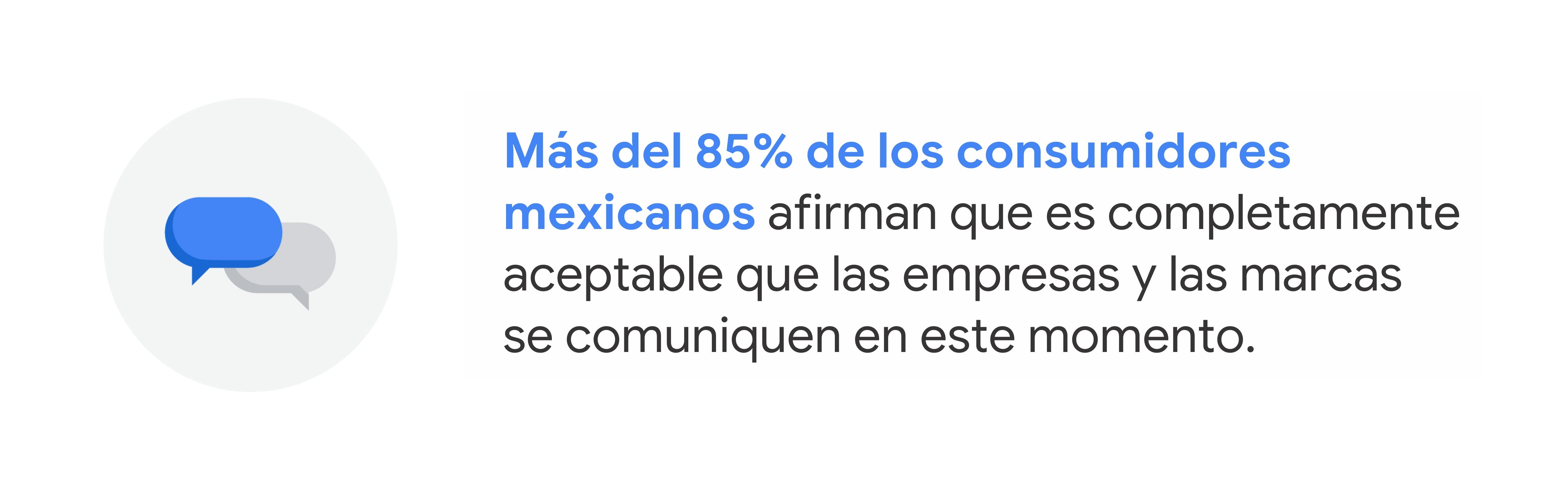 Ilustración de burbujas de mensajes azules y blancas. Text reads: Más del 85% de los consumidores mexicanos afirman que es completamente aceptable que las empresas y las marcas se comuniquen en este momento.