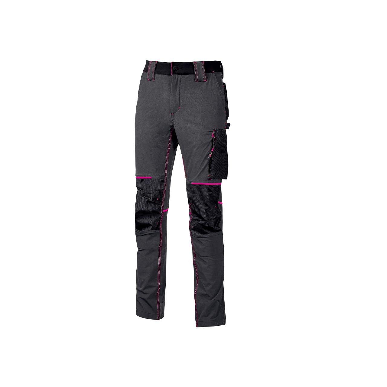 pantalone da lavoro upower modello atom lady colore grey fucsia