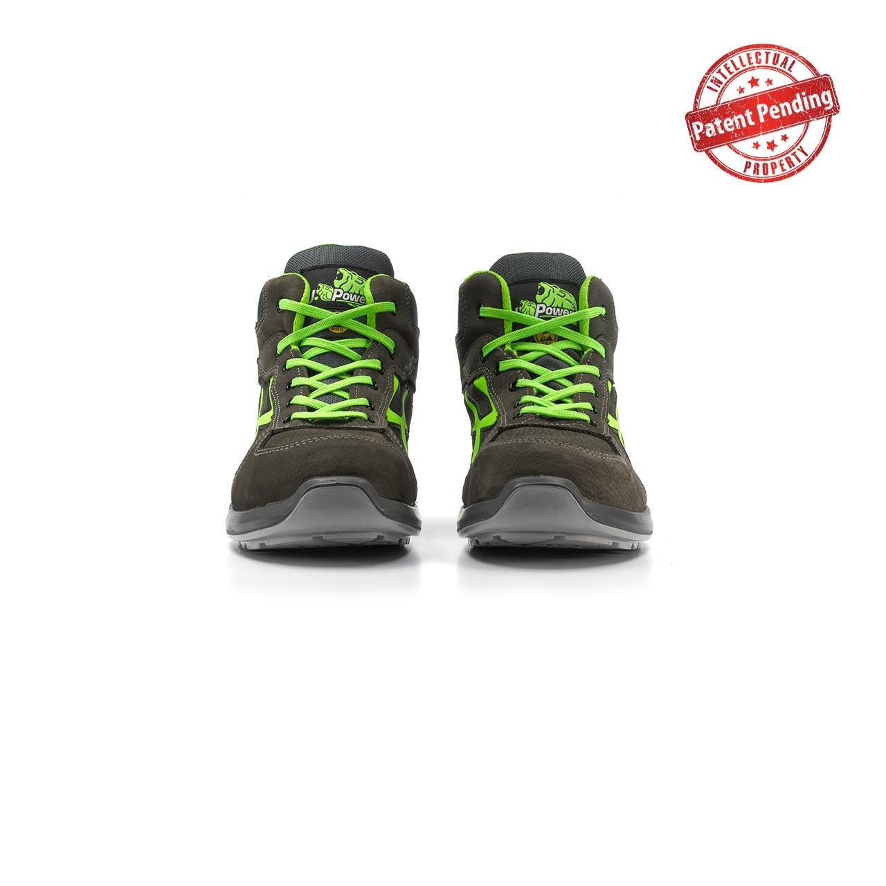 paio di scarpe antinfortunistiche alte upower modello aries linea redup vista frontale