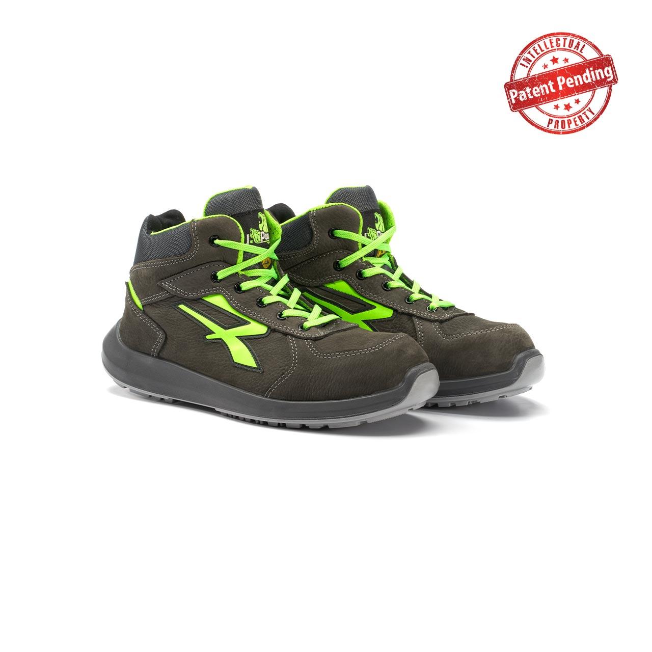 paio di scarpe antinfortunistiche alte upower modello aries linea redup vista prospettica