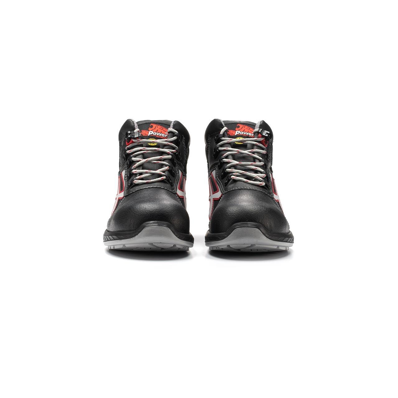paio di scarpe antinfortunistiche alte upower modello boston linea redindustry vista frontale