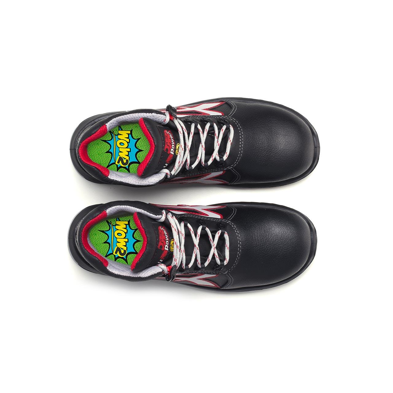 paio di scarpe antinfortunistiche alte upower modello boston linea redindustry vista top